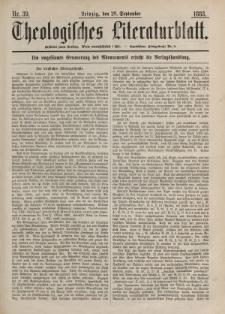 Theologisches Literaturblatt, 28. September 1883, Nr 39.