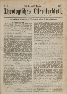 Theologisches Literaturblatt, 28. Dezember 1883, Nr 52.