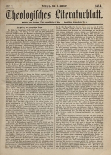Theologisches Literaturblatt, 4. Januar 1884, Nr 1.