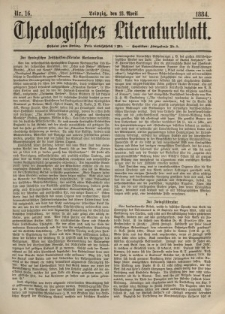 Theologisches Literaturblatt, 18. April 1884, Nr 16.