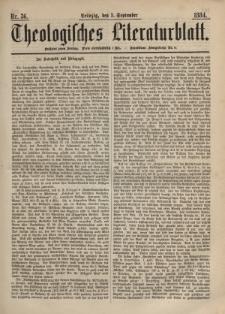 Theologisches Literaturblatt, 5. September 1884, Nr 36.