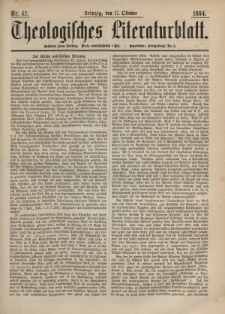 Theologisches Literaturblatt, 17. Oktober 1884, Nr 42.