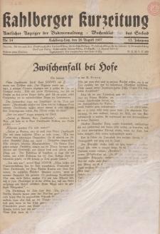 Kahlberger Kurzeitung Nr. 14, 28. August 1937, 12. Jahrgang