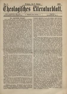 Theologisches Literaturblatt, 8. Januar 1885, Nr 1.