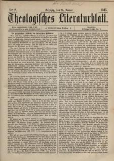Theologisches Literaturblatt, 15. Januar 1885, Nr 2.