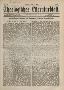 Theologisches Literaturblatt, 3. April 1885, Nr 13.