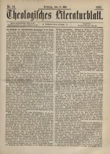 Theologisches Literaturblatt, 15. Mai 1885, Nr 19.