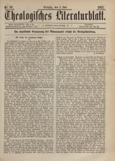 Theologisches Literaturblatt, 3. Juli 1885, Nr 26.