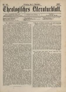 Theologisches Literaturblatt, 6. November 1885, Nr 44.