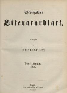 Theologisches Literaturblatt, 1885 (Inhaltsverzeichniß)