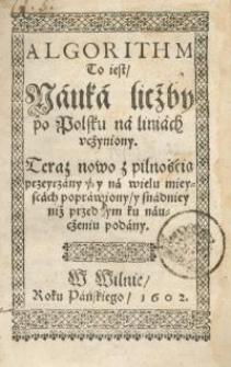 Algorithm, To iest Nauka liczby po polsku na liniach uczyniony Teras nowo z pilnością przeyrzany, y na wielu mieyscach ...