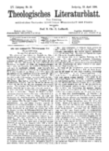 Theologisches Literaturblatt, 13. April 1894, Nr 15.