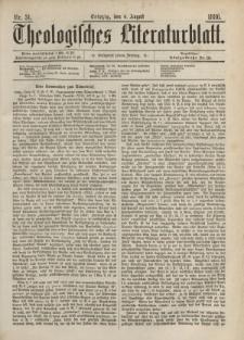 Theologisches Literaturblatt, 6. August 1886, Nr 31.
