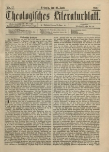 Theologisches Literaturblatt, 29. April 1887, Nr 17.
