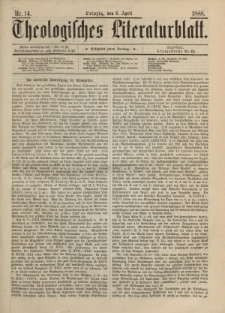 Theologisches Literaturblatt, 6. April 1888, Nr 14.