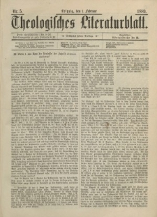 Theologisches Literaturblatt, 1. Februar 1889, Nr 5.