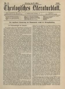 Theologisches Literaturblatt, 22. März 1889, Nr 12.