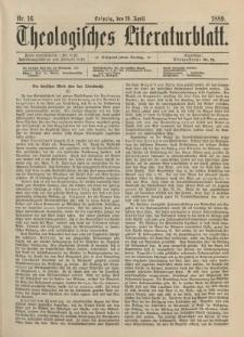 Theologisches Literaturblatt, 19. April 1889, Nr 16.