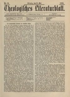 Theologisches Literaturblatt, 10. Mai 1889, Nr 19.