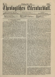 Theologisches Literaturblatt, 5. Juli 1889, Nr 27.