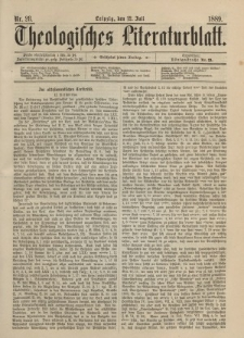 Theologisches Literaturblatt, 12. Juli 1889, Nr 28.