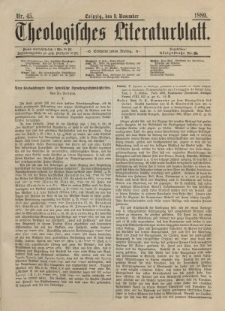 Theologisches Literaturblatt, 8. November 1889, Nr 45.