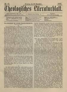 Theologisches Literaturblatt, 22. November 1889, Nr 47.