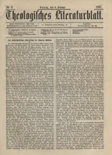 Theologisches Literaturblatt, 6. Februar 1891, Nr 6.