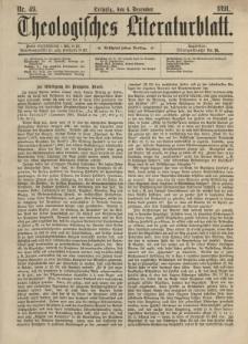 Theologisches Literaturblatt, 4. Dezember 1891, Nr 49.
