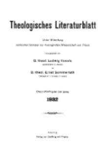 Theologisches Literaturblatt, 1932 (Inhaltsverzeichniß)
