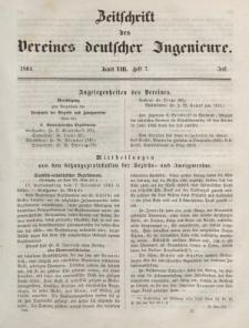 Zeitschrift des Vereins deutscher Ingenieure, Bd. VIII, Juli 1864, H. 7.