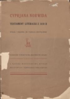 Testament literacki Cyprjana Norwida z 1858 roku