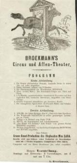 Pozycja nr 185 z kolekcji Henryka Nitschmanna : Broekmann's Circus und Affen-Theater : programm