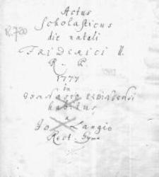Actus Scholasticus die natali Friderici II. Regis Prussiae in Gymnasio Elbingensi habitus
