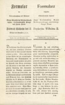 Formular der Bekanntmachung des Ablebens… = Formularz względem obwieszczenia śmierci Jego Krolewkiey Mości Krola pruskiego…