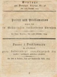 Patent und Proklamation wegen der in Westpreussen entstandenen Unruhen=Patent i Proklamacya do wszystkich przy Insurrekcyi ...