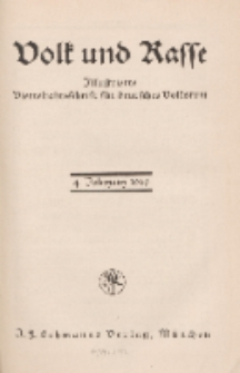 Volk und Rasse, 4. Jg. Januar 1929, Heft 1.