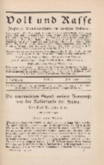 Volk und Rasse, 4. Jg. Juli 1929, Heft 3.