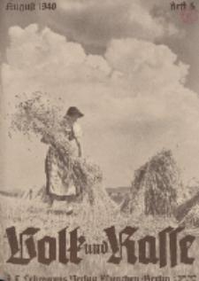 Volk und Rasse, 15. Jg. August 1940, Heft 8.