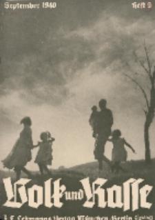 Volk und Rasse, 15. Jg. September 1940, Heft 9.