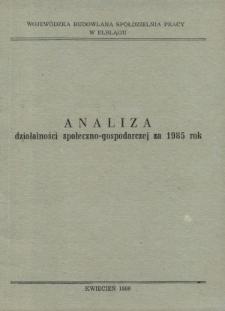 Analiza działalności społeczno-gospodarczej za 1985 rok - broszura