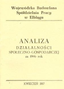 Analiza działalności społeczno-gospodarczej za 1986 rok - broszura
