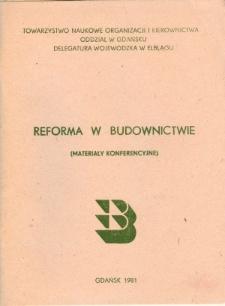 Reforma w budownictwie - materiały konferencyjne - biuletyn