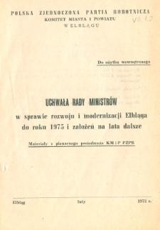 Uchwała Rady Ministrów w sprawie rozwoju i modernizacji Elbląga do roku 1975 i założeń na lata dalsze - broszura