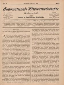 Internationale Litteraturberichte, Mittwoch 30. Mai 1894, Nr 9.