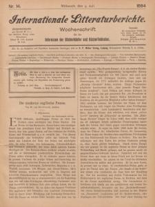 Internationale Litteraturberichte, Mittwoch 4. Juli 1894, Nr 14.