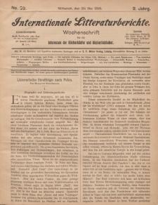 Internationale Litteraturberichte, Mittwoch 29. Mai 1895, Nr 22.