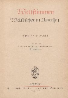 Weltstimmen. Weltbücher in Umrissen, 12. Jg. Januar 1938/ 1939, Heft 1.