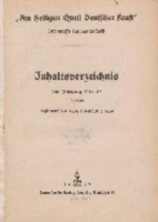 Inhaltsverzeichnis zu Am Heiligen...1938-1939
