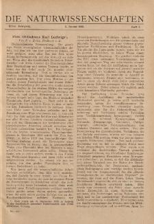 Die Naturwissenschaften. Wochenschrift..., 11. Jg. 1923, 5. Januar, Heft 1.